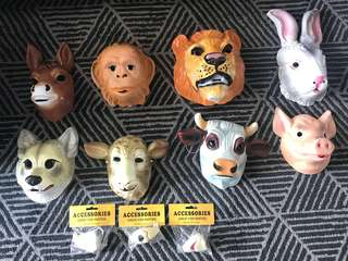 Animal plastic masks for birthday party and events