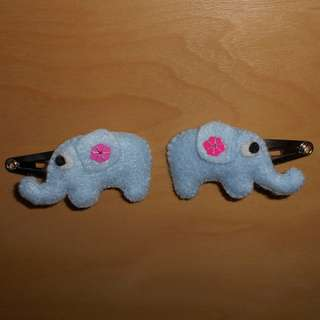 Elephant snap hair clip with pink flower sequin
