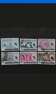 Malaysia 1965 Negeri Sembilan Orchids Definitive Loose Set - 6v Used & MH Stamps