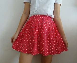 F21 Polka Dot Skater Skirt
