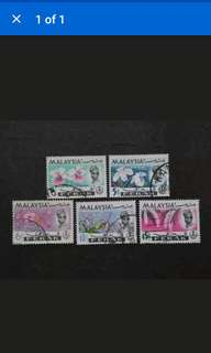 Malaysia 1965 Perak Orchids Definitive Loose Set - 5v Used Stamps