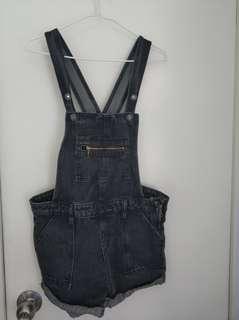 黑灰色牛仔工人褲 Jumpsuits