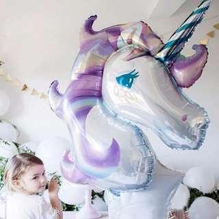 Balon Foil Unicorn Jumbo Rainbow Ungu 1 meter - Kepala Kuda Poni Pegasus Besar - Dekorasi pesta ulang tahun