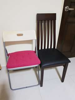 Wooden leather chair + IKEA chair + seat cushion