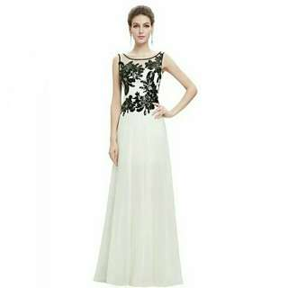 Gorgeous white long chiffon black sequin embroidered evening party gown dress