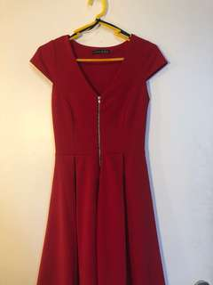 Red Zip-Up Dress