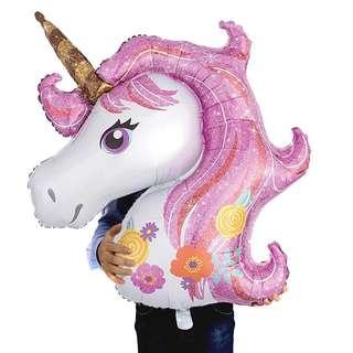 Balon Foil Unicorn Jumbo Rainbow pink 1 meter - Kepala Kuda Poni Pegasus Besar - Dekorasi pesta ulang tahun