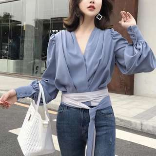 🔱 (More cols) Luxe Drape slouch Wrap Silken Blouse