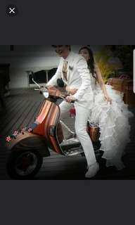 Classic wooden vespa for rental wedding and events.