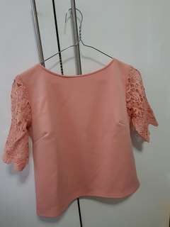 Zara inspired - Peach blouse crochet sleeves (repriced)
