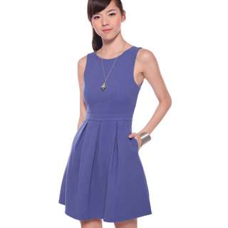 (L) LoveBonito Pleated Dress in Periwinkle