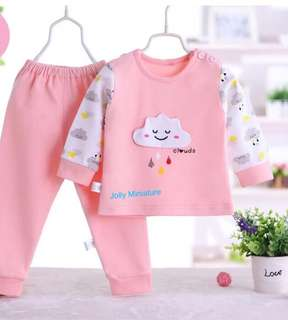 Baby PJ Top + Bottom Set (Pink Clouds ☁️/ Yellow Clouds ☁️)
