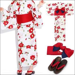 PrettyHouse-日本直送! 日本大人氣, 綺麗ROSE PATTERN三點浴衣套裝 (限面交)