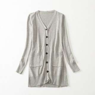 Lady's Long Knitted Cardigan - Grey - B1660A