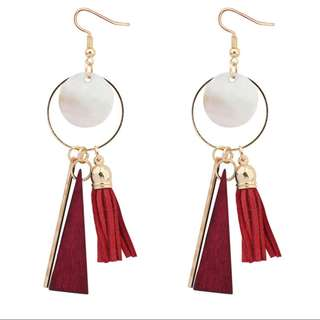 [A44] Geometric Tassle Dangle Earrings