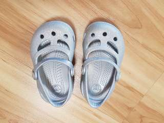 Silver Crocs Size 4 for toddler girl