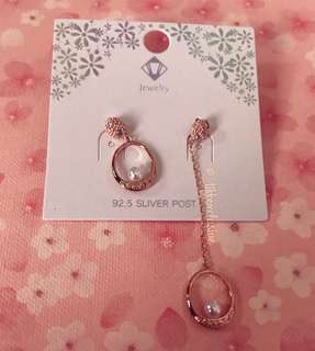 Korean Style Pearl Rose Gold Dangling Earrings