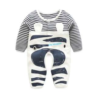 Baby Romper (Black & White Stripes 🖤)