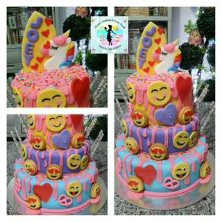 Emoji and Unicorn Theme Cake for Debut Party