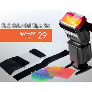 Flash Colour Gel Film 12pcs Set for Speedlite Flashgun Yongnuo