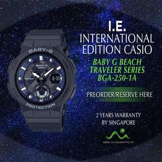 CASIO INTERNATIONAL EDITION BABY G BEACH TRAVELER BGA250-1A/ BGA250-2A/ BGA250-4A/ BGA250-7A1/ BGA250-7A2