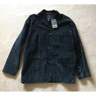 BNWT Black Suede Leather Jacket Coat Sz M