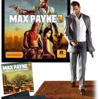 Max Payne 3 Rockstar Games - Special Edition (XBOX 360 game) with figurine and art prints.