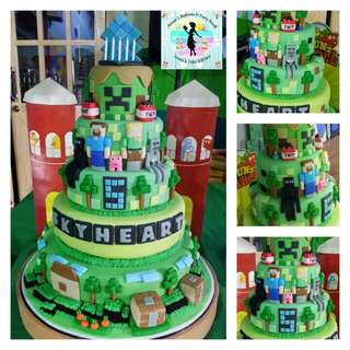 5-Layer Minecraft Fondant Cake for 5th Birthday (all edible)