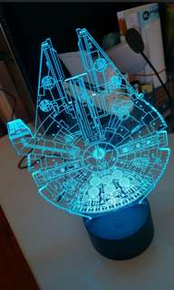 Starwar spaceship Millennium Falcon 3D LED Night Lamp 星球大戰太空船 3D LED 幻影燈 #mayflashsell
