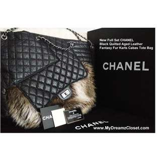New CHANEL Black Quilted Aged Leather Fantasy Fur Karls Cabas Tote Bag