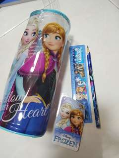 Disney Frozen pencil case, pencil and ruler