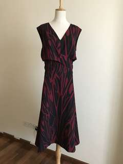 Size 14 red and black midi dress