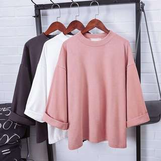 ulzzang basic pink shirt