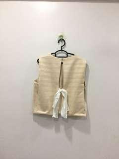 Open back tie ribbon crop top