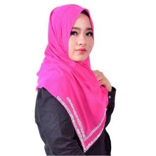 Instant Shawl Chiffon LILY Crystal V-Shape Pink