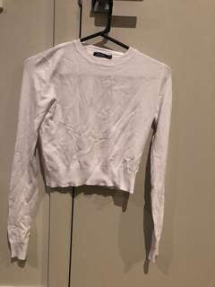 Bershka basic white crop top