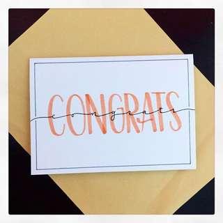 Original Hand-Lettered 'Congrats'