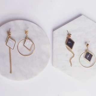 [A53] Irregular Marble Stone Asymmetrical Drop Earrings