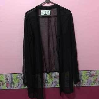 Cardigan hitam transparant
