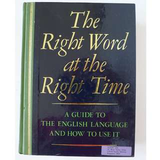 Reader's Digest Hard Cover - The Right Word at the Right Time