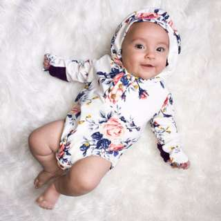 Newborn Infant Baby Girls Flower Hooded Romper Jumpsuit Playsuit Outfits Clothes