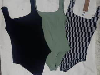 🐥Cotton On Body Suit Bundle thick strap (RRP 3000 total 1k each)  black army green stripes