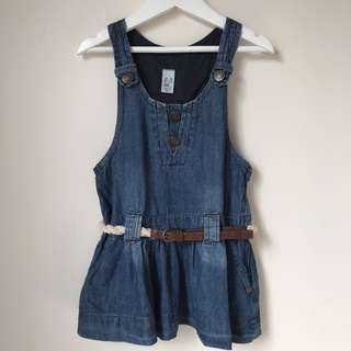 Zara Girls Denim Overall dress size 2-3