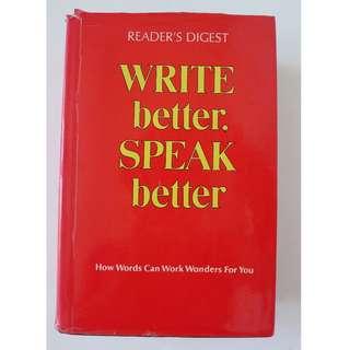 Reader's Digest Hard Cover - Write Better, Speak Better