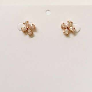 Brand New - CZ Flower Rose Gold Stud Earrings - Fashion Jewellery