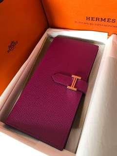 Hermès Bearn Wallet 17.5 x 9 cm Rose Pourpre