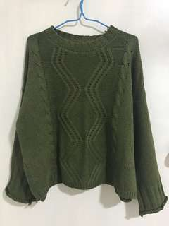 Oversized Green Knit Sweater
