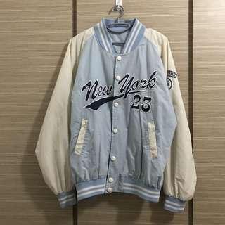 (BN) Vintage Baseball Jacket in Light Blue and Off White/ Beige Color Freesize