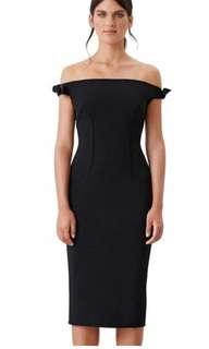 By Johnny Bare Shoulder Tie Dress Black