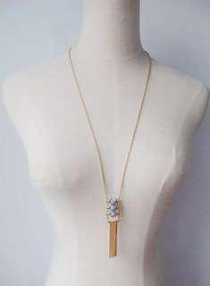 Ladies Minimalist Marble Long Strand Tassel Necklace